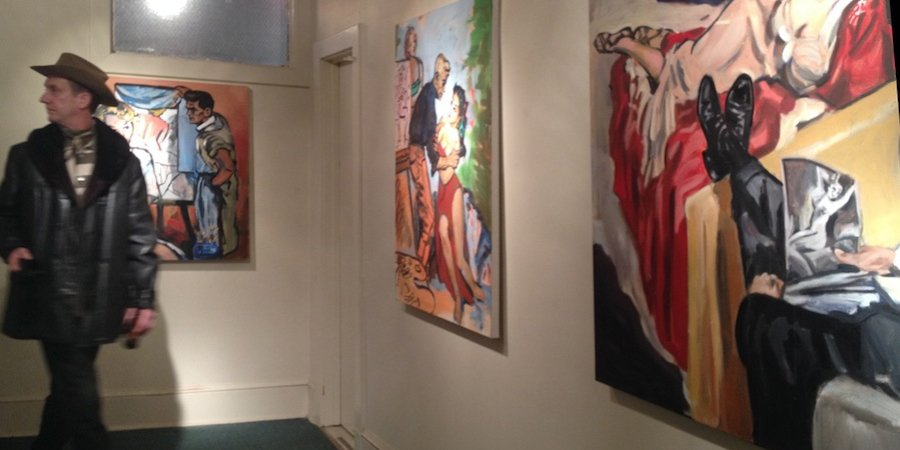 "Walter's ""romance"" paintings on view at Spring/Break (note the carpeting)"