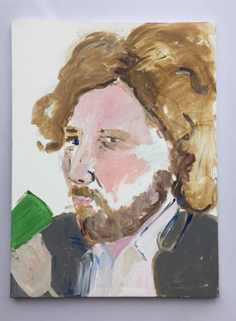 Henry Taylor's portrait of Ry Rocklen at Bobby Jesus (Los Angeles)