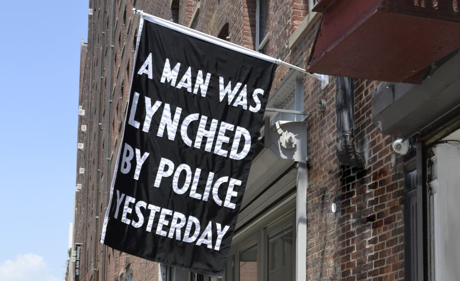 Dread Scott's A Man Was Lynched By Police Yesterday outside of Jack Shainman Gallery. All images are courtesy of the given artist and Jack Shainman Gallery, New York, unless otherwise noted