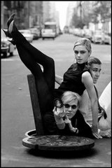 New York City. 1965. Andy WARHOL with Edie SEDGWICK and Chuck WEIN., by Burt Glinn