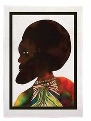 Afromuses (Man and Woman)--tea towels, by Chris Ofili