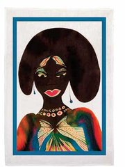 Afromuses (Woman) Tea Towel, by Chris Ofili