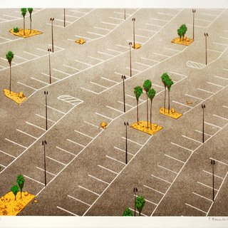 Parking Lot with Palm Trees art for sale