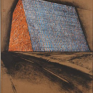 Christo  - Texas Mastaba, Project for 500,000 Stacked Oil Drums, from America: The Third Century, Print