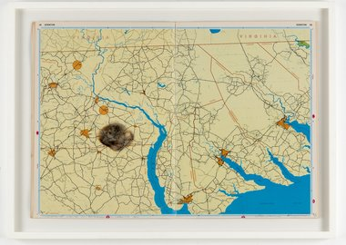 Cornelia Parker - Meteorite lands..in the middle of nowhere hittin... Bethlehem, North Carolina