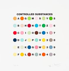 Controlled Substance Key spot Print, by Damien Hirst