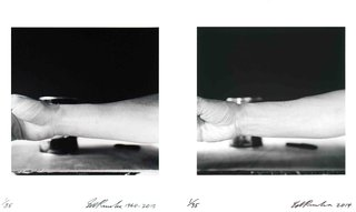 Self-Portrait of My Forearm 1960 and Self-Portrait of My Forearm 2014, by Ed Ruscha