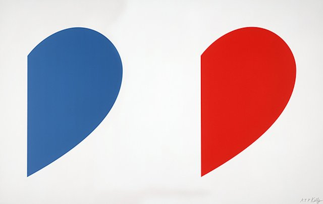 Ellsworth Kelly - Blue Curve / Red Curve, Print