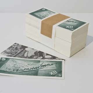 ARTCASH: Wrapped Bundle of 500 Bills Robert Rauschenberg $12 art for sale