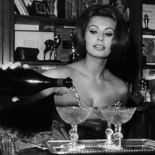 Sophia Loren Pouring Champagne in Celebration of NYE art for sale
