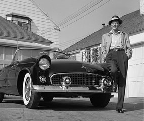 Frank Sinatra Standing Next to Tbird, by Frank Worth