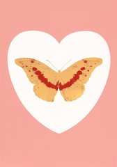 I Love You - white, pink, cool gold, poppy red, by Damien Hirst