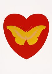 I Love You - red, oriental gold, cool gold, by Damien Hirst