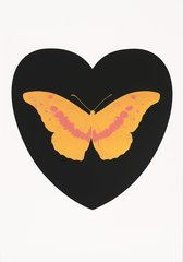 I Love You - black, cool gold, loganberry, by Damien Hirst