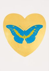 I Love You - gold leaf, turquoise, oriental gold, by Damien Hirst