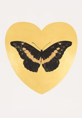 I Love You - gold leaf, black, cool gold, by Damien Hirst