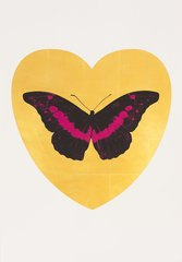 I Love You - gold leaf, black, fuchsia, by Damien Hirst