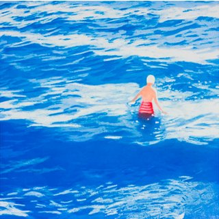 Wading II (Blue) art for sale