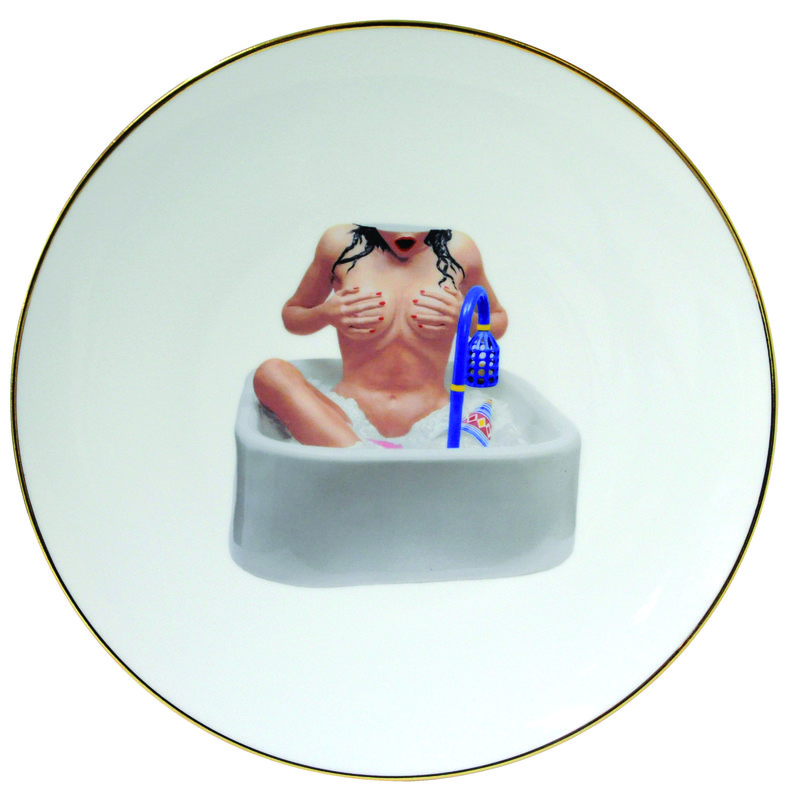 jeff koons woman in the tub banality series 5 piece place setting for sale artspace. Black Bedroom Furniture Sets. Home Design Ideas
