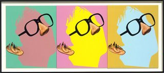 One Face (Three Versions) with Nose, Ear and Glasses, by John Baldessari