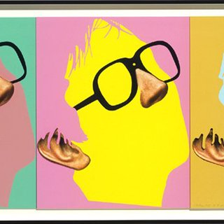John Baldessari - One Face (Three Versions) with Nose, Ear and Glasses, Print