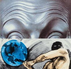Raised Eyebrows/Furrowed Foreheads: Figure with Globe, by John Baldessari