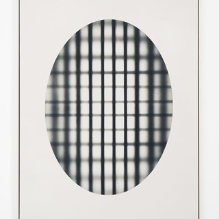 Oval With Grid (black) art for sale