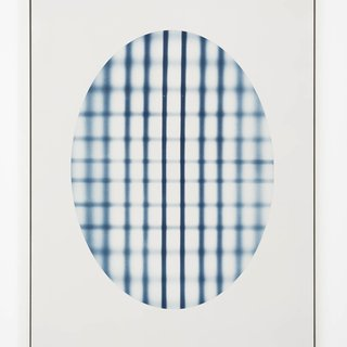 Oval With Grid (blue) art for sale