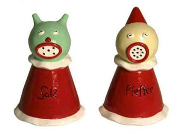 Marcel Dzama - Sea Salt & Jester Pepper Shakers