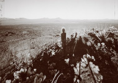Mark Klett - Self portrait with Saguaro about my same age, Pinacate Sonora 10/29/99