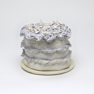 Lavender Frosted Layer Cake on Yellow Plate art for sale