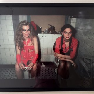 Cookie and Millie in the Girl's Bathroom at the Mud Club, NYC art for sale