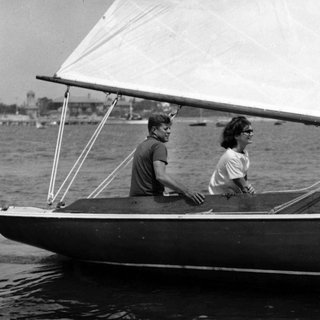 John Kennedy sailing with wife Jackie near Hyannisport, Mass. art for sale