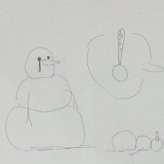 Untitled Snowman Drawing art for sale