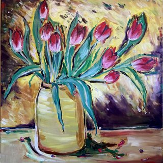 Red Tulips with Yellow Background art for sale