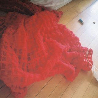 Flung (Red Brushed Wool Check Dress) art for sale