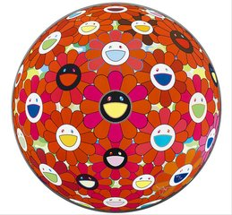Flower Ball (3D) Red Ball, by Takashi Murakami
