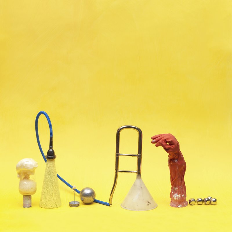 Red Glove and Objects on Yellow art for sale