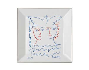 Square plate Two Women with Dove, by Pablo Picasso