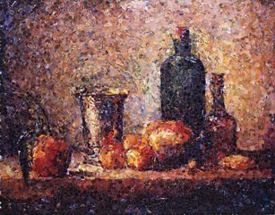 "Seville Orange, Silver Goblet, Apples, Pear, and Two Bottles, After Chardin (from Pictures of Magazines)"", by Vik Muniz"