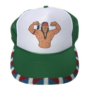 Native Muscle Man Hat (Green) art for sale
