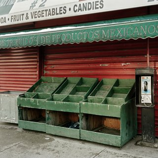 Empty Vegetable Stand On Valentine's Day, looking east from 3rd Ave & 110th, NYC art for sale
