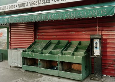 Will Steacy - Empty Vegetable Stand On Valentine's Day, looking east from 3rd Ave & 110th, NYC