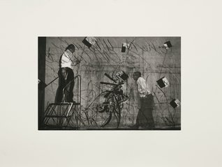 Two Kentridges with Flying Papers, by William Kentridge