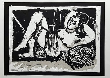 William Kentridge - Reclining Figure with Cat