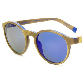Klein Blue Sunglasses – Round Gold art for sale