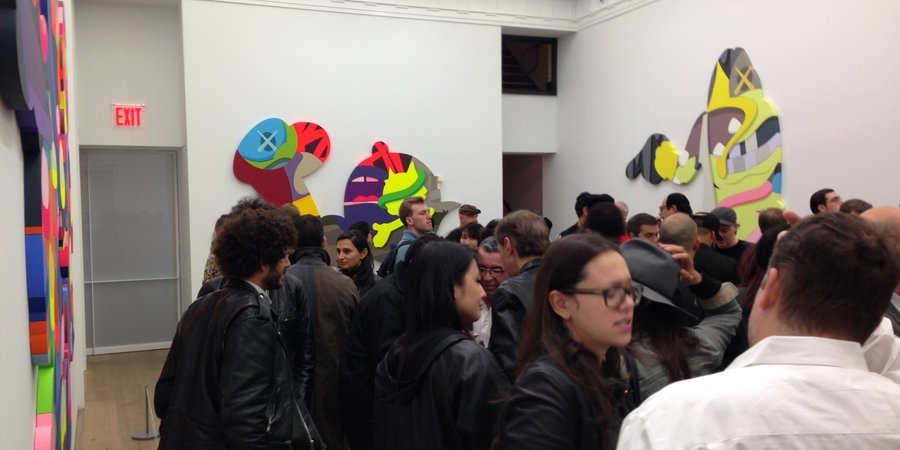 At the KAWS opening at Perrotin Gallery