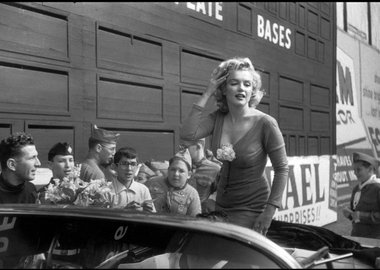"Bob Henriques - NYC. 1959. Marilyn Monroe visiting Ebbets Field, she was in New York for the opening of her film ""Some like it hot"" by Billy Wilder."