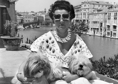 David Seymour - Venice. Mrs Peggy Guggenheim in her palace on the Grand Canal. 1950
