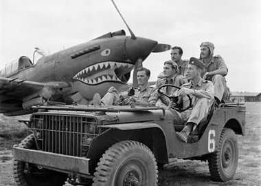 George Rodger -  BURMA (Myanmar). Mingladon Air field, near Rangoon (Yangon). World War II. The Flying Tigers. Pilots Newkirk, Gesselbracht, Howard (front seat), Bartling and Lather (back seat).